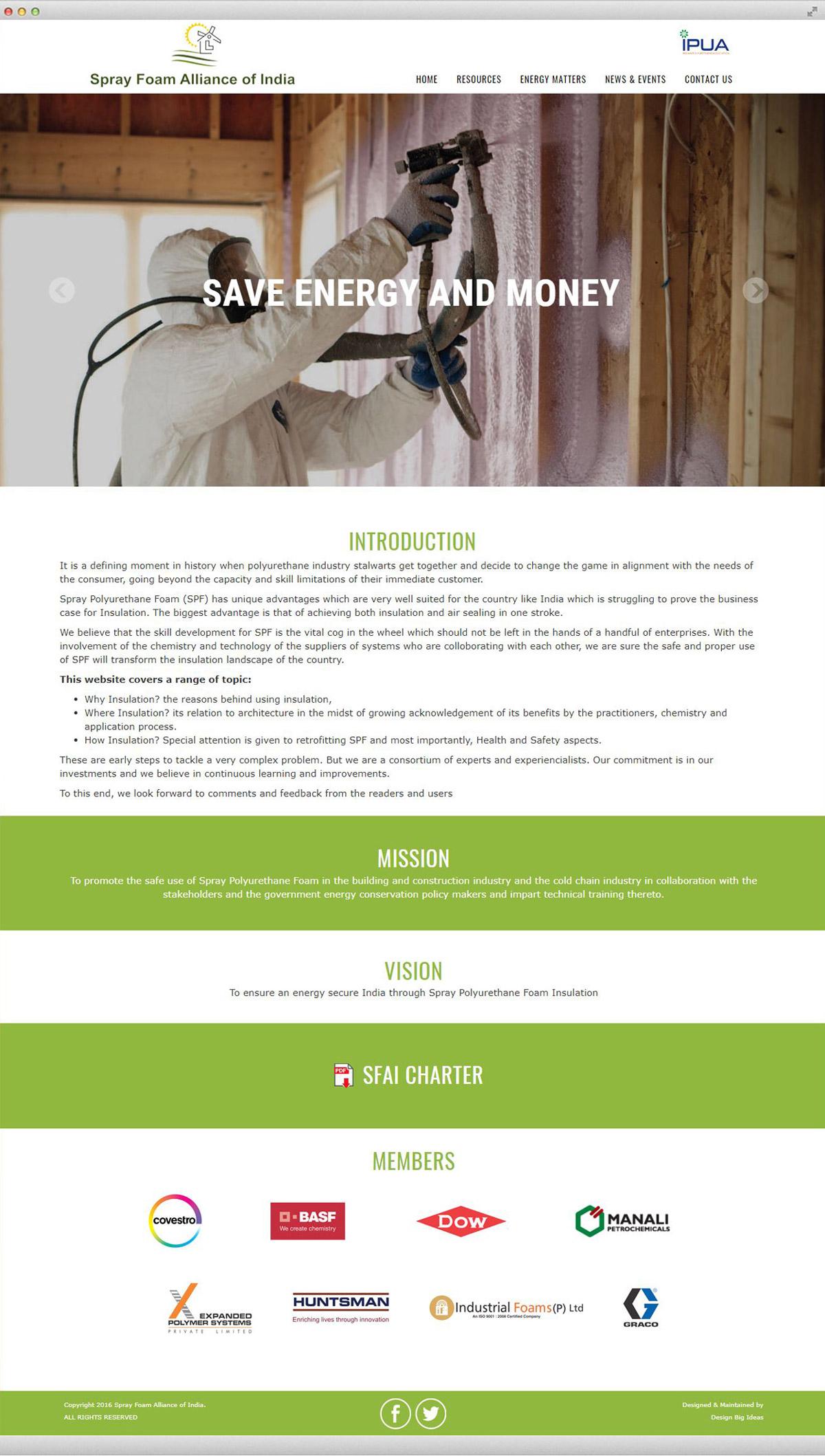 Website Design for Spray Foam Alliance of India