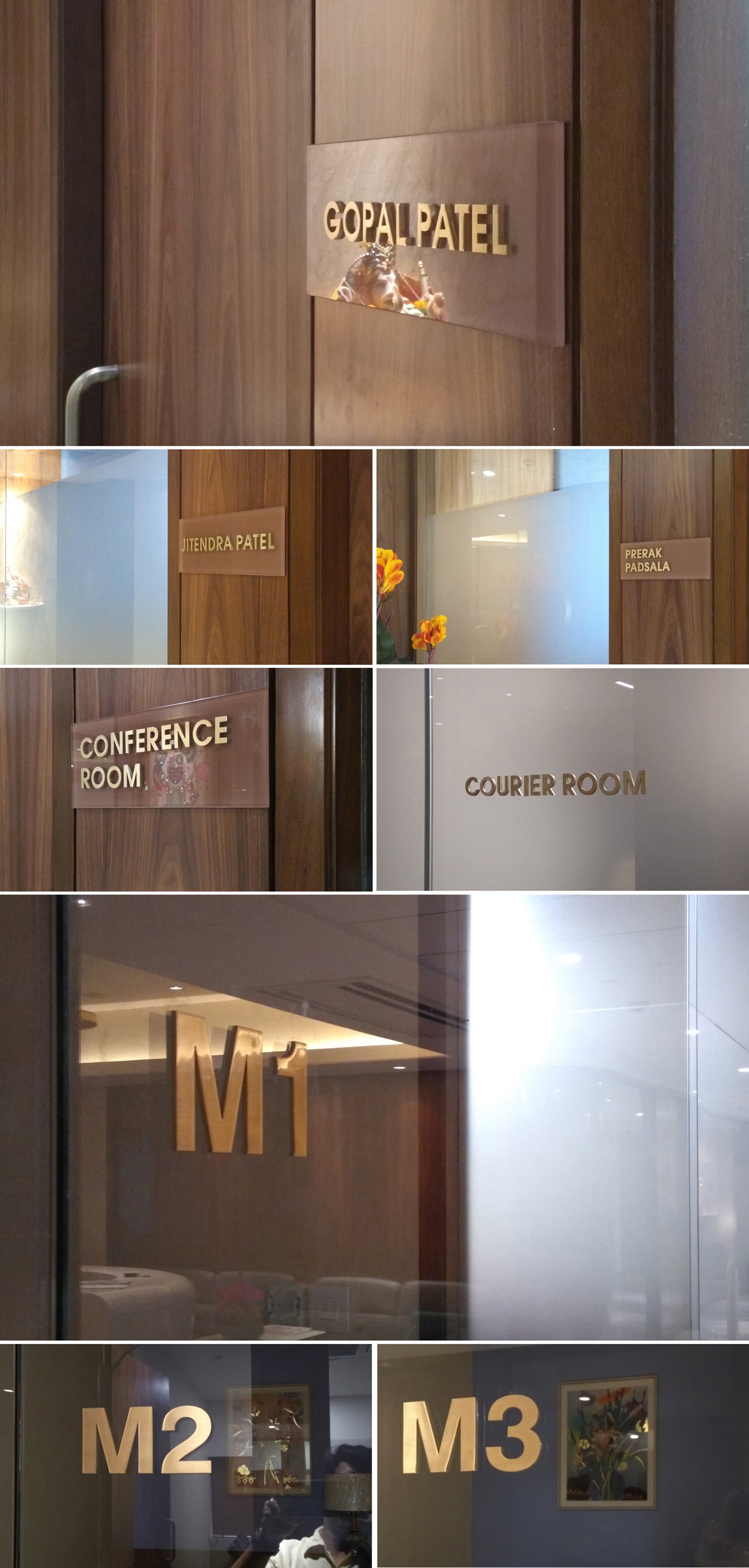 brass demartment signage and name plate signage design for corporate office