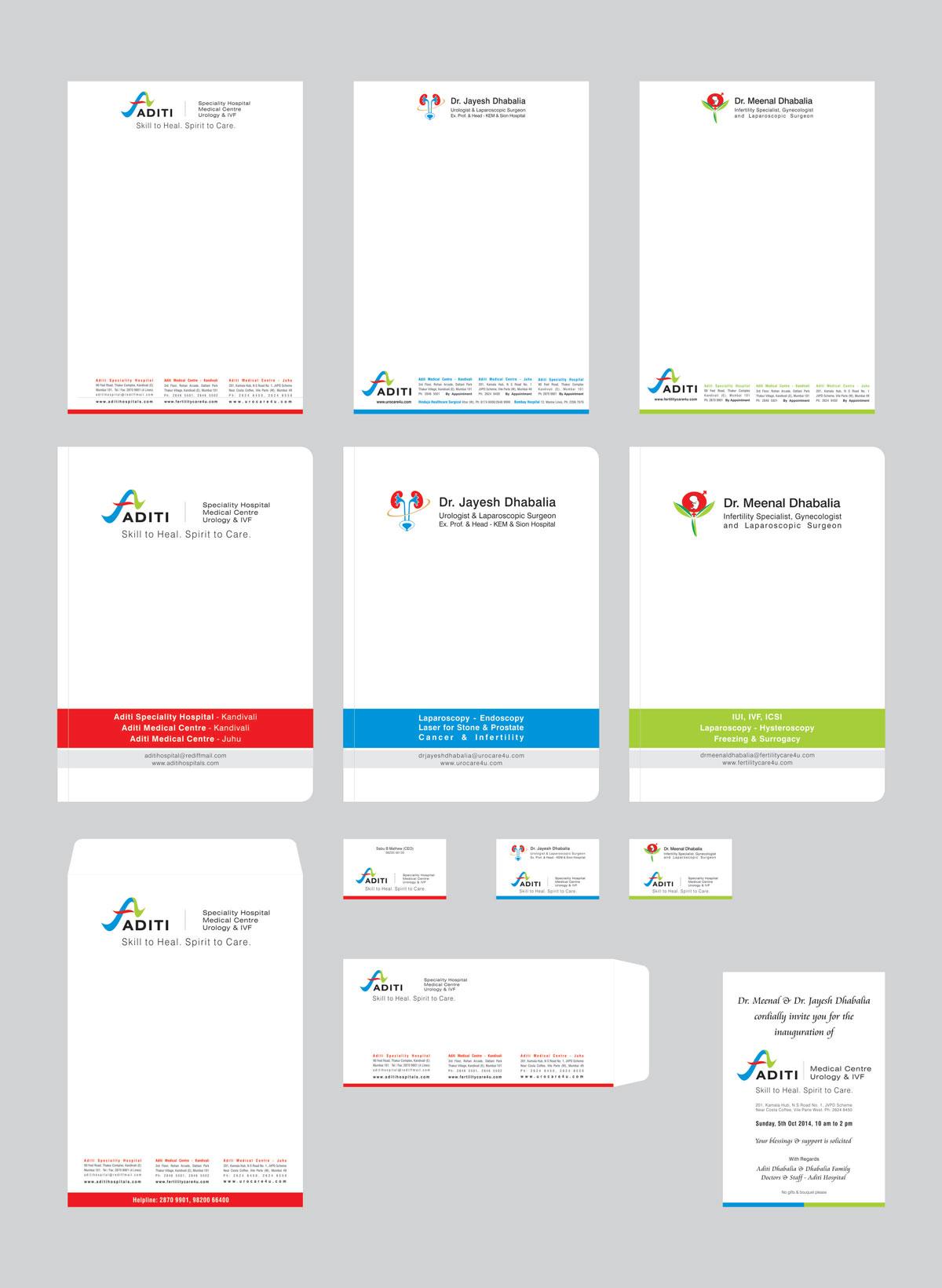 stationery design, file design for hospital