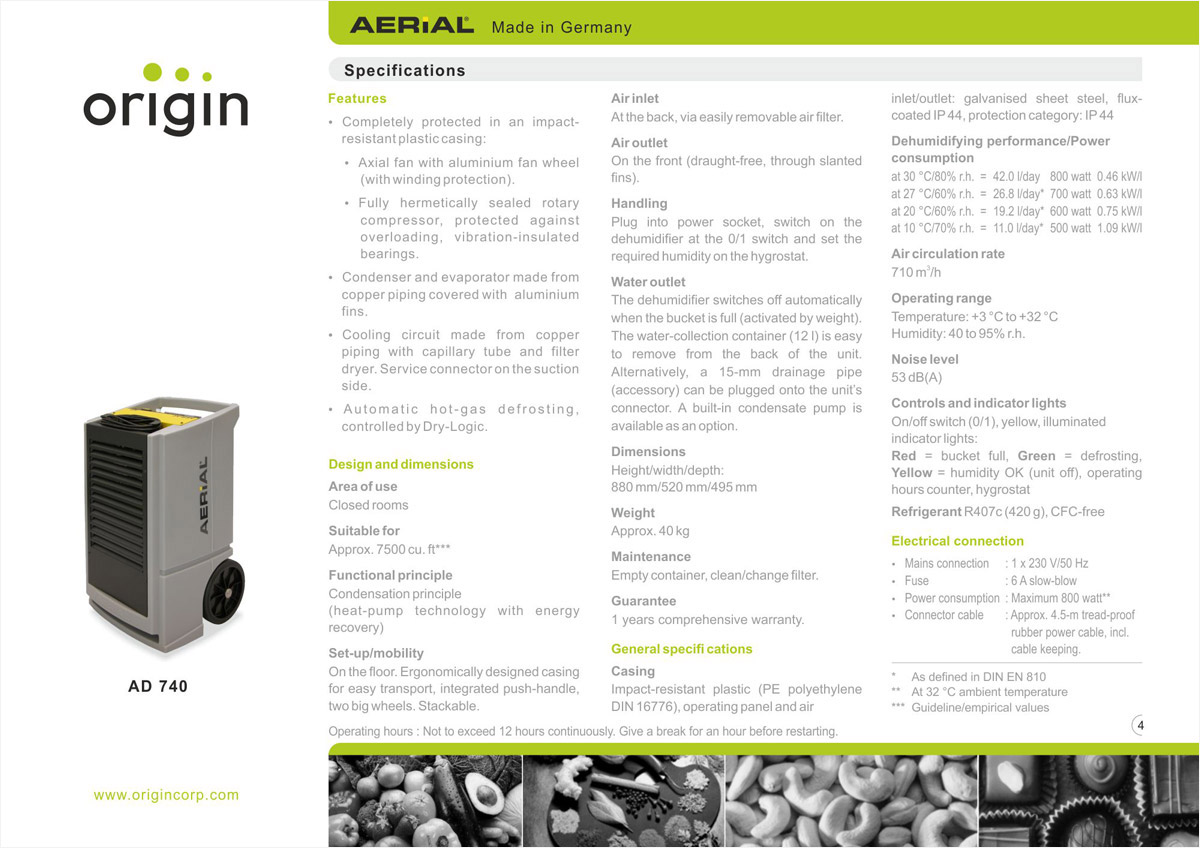 Brochure design for Dehumidifier Products