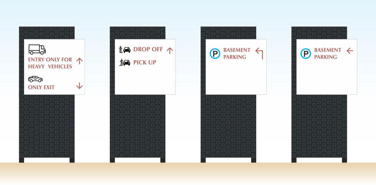 vehicular wayfinding signage design for mall and commercial center