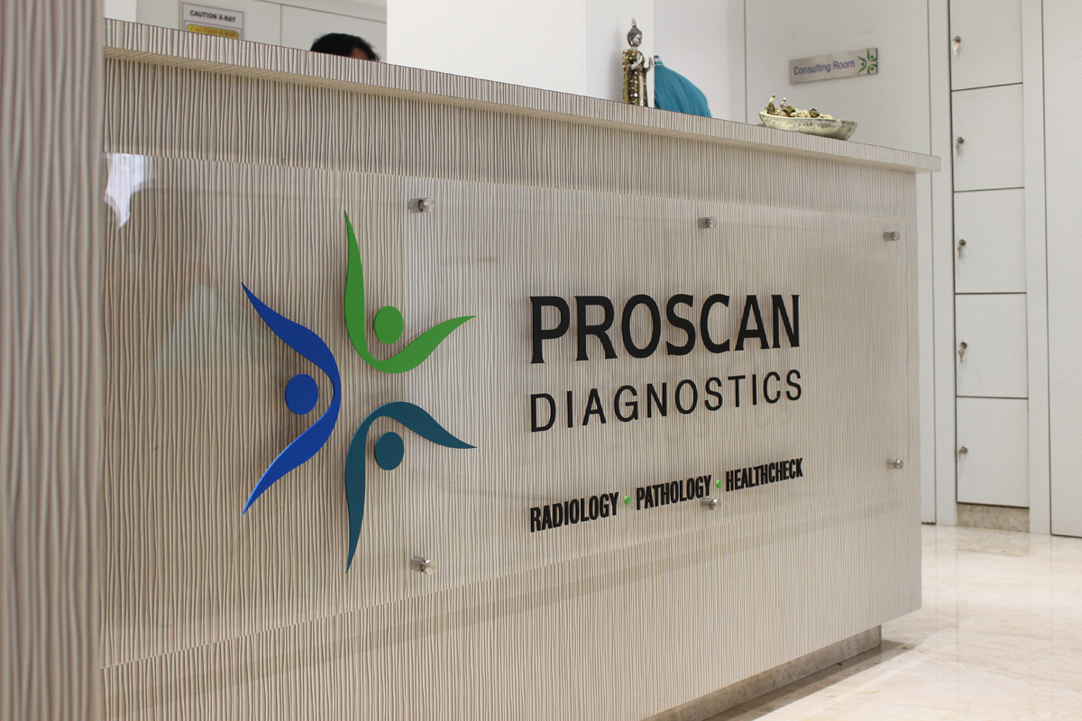 Logo signage for Diagnostic Centre on Reception Counter