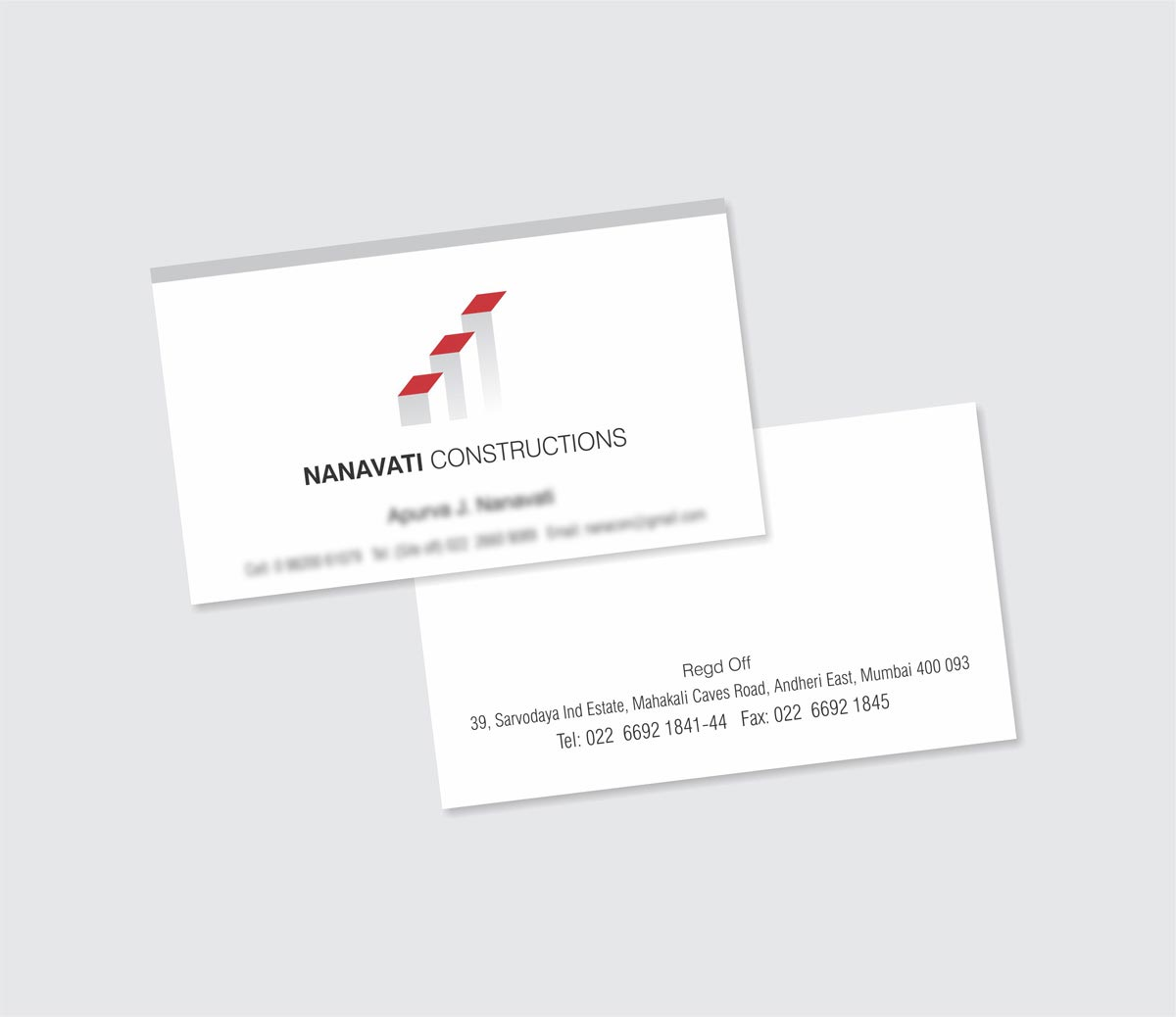 Business Card Design, Visiting Card Design for Nanavati Construction