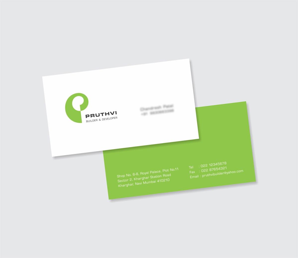 Business Card Design, Visiting Card Design for Pruthvi Builders & Developers