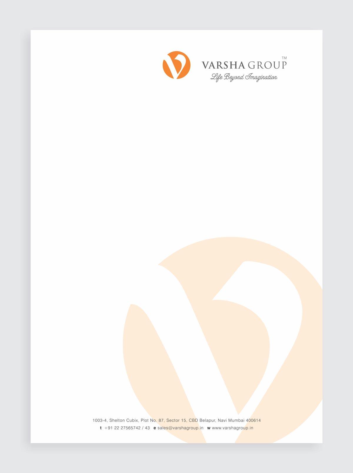 Letter Head Design for Varsha Group